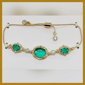 Emerald Green & Gold Bracelet